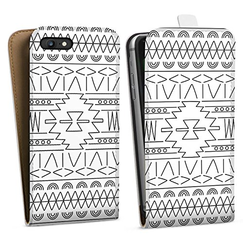 Apple iPhone X Silikon Hülle Case Schutzhülle Black and White Ethno Muster Downflip Tasche weiß