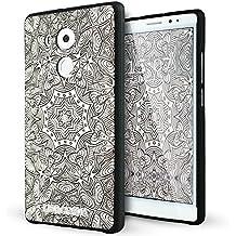 Huawei Mate 8 Funda,Lizimandu 3D Patrón Protectiva Carcasa de Silicona Gel TPU estrecha Case Cover Para huawei mate8(Flor Blanca/White Flower)