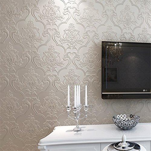 Damasco carta da parati semplice stile europeo non tessuta camera da letto soggiorno TV, carta da parati non-auto-adesivo parete solida ,