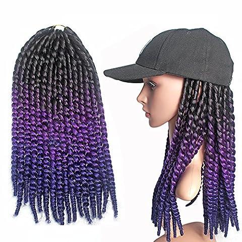 Emmet Crochet Braids Qualité Pre Braiding Twist Box Extension de cheveux Cheveux synthétiques Ombre 24 Inch Résistant à la chaleur 7 Ombre Colors 2 Tone & 3 Tone 1Pcs / lot (Noir et violet et bleu)