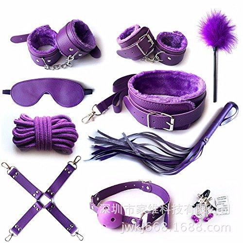 ANGEELEE-Q Sexspielzeug-Set Bündel Bindung SM Handschellen Knöchel Paar Set 10 Stück lila
