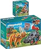 Playmo PLAYMOBIL® The Explorers 2er Set 9431 9434 Motocross-Bike mit Raptor + Offroader mit Dino-Fangnetz