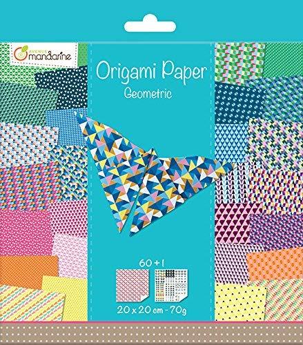 Avenue Mandarine 52501MD Origami color Papier (quadratisch, 20 x 20 cm, mit Faltanleitung, 60 verschiedenen Blätter und 1 Blatt mit Augenset, Geometrisch)
