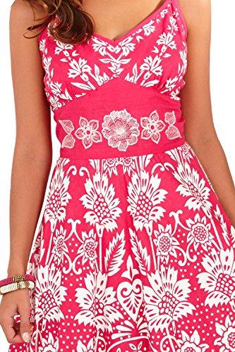 Pistachio Femmes À Rayures Fleur Motif Cachemire Imprime Croisé Front Robe Rose