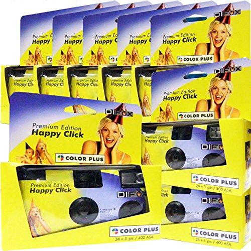 8 x PHOTO PORST Einwegkamera / Hochzeitskamera / Partykamera / Happy Click gelb (27 Fotos, Blitz, 8-er Pack)