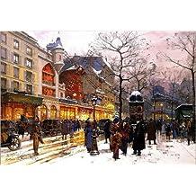 Cuadro sobre lienzo 100 x 70 cm: Winter morning in front of the Moulin-Rouge de Eugene Galien-Laloue / ARTOTHEK - cuadro terminado, cuadro sobre bastidor, lámina terminada sobre lienzo auténtico, i...