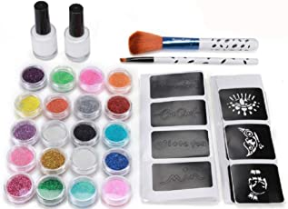 Tattoo-Kit, temporäre Glitzer Tattoo Make Up Körper Glitzer Kunst Design für Kinder Teenager Erwachsene, mit 20 Farben der Glitzer und 5 Leuchtstoffe, 80 Blatt Einzigartig Themed Tattoo Schablone