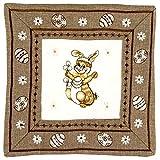 Espamira TISCHDECKE Eckig Ostern Leinenoptik weiß braun Osterhasen bunt Polyester Osterdecke Ostertischdecke (Deckchen 30x30 cm)