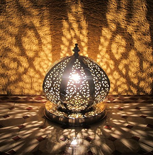 Saharashop Marokkanische Stehlampe versilbertes Messing Kora
