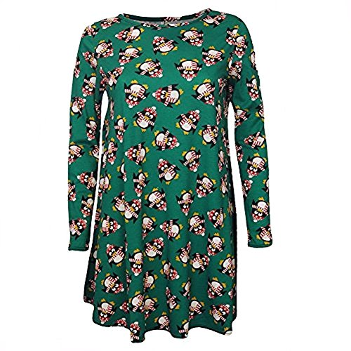 Fashion 4 Less - Robe - Robe de swing - Manches Longues - Femme Vert - Green Penguin