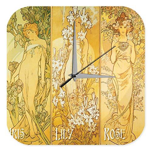 LEotiE SINCE 2004 Wanduhr mit geräuschlosem Uhrwerk Dekouhr Küchenuhr Baduhr Wand Küchen Deko Jugendstil Acryl Dekouhr Vintage