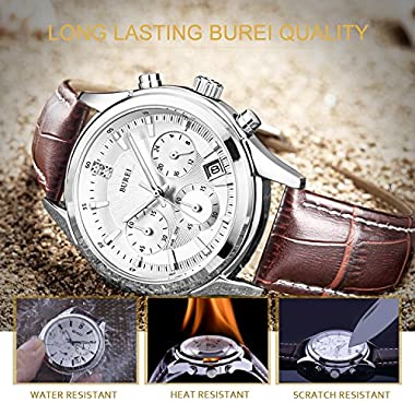 BUREI Chronograph Watch Analog Quartz Wrist Watches with Scratch-Resistant Mineral Crystal Lens Leather Strap