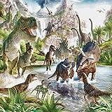 Papier Peint Mural Intissé Monde des dinosaures Photo Mural 3D Moderne - Papier Peint Poster Geant pour Chambre Salon Cuisine Salle de bain Décoration 140CMx100CM