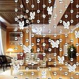 UxradG perline di cristallo farfalla tenda fili, lampadario catena, perline stringa rotolo per fai da te Decorazione di nozze di Natale ornamenti, Transparent, Taglia libera