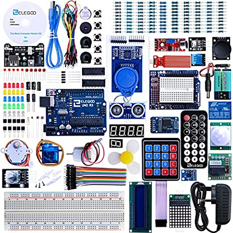 Elegoo UNO R3 Project The Most Complete Ultimate Starter Kit w/ TUTORIAL, UNO R3 controller board, LCD1602, Servo, Stepper Motor for Arduino UNO