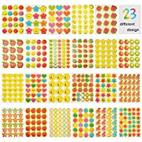 JBSON Teacher Stickers Reward Stickers for Kids,5200 Pieces Incentive Stickers for Teacher Classroom and School Bulk Use,23 Design Styles Including Smiley Face,Star,Thumbs,Heart,Apple