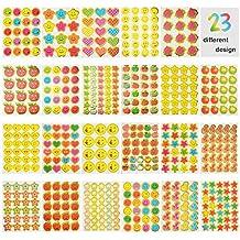 Aufkleber für Lehrer,JBSON Belohnungsaufkleber für Kinder,5200 Stück Sticker als Ansporn für Klassenzimmer und Schule,23 verschiedene Designs einschließlich Smiley, Sternen,Daumen, Herz, Apfel