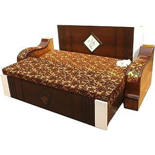 Divya Furniture Hometown Wood 3 Seater Sofa Cum Bed  Coffee Brown