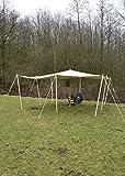 Hochwertige reißfeste Lagerplane / Sonnensegel mit Schlaufen, 250g/m², naturfarben Zeltplane LARP verschiedene Größen (Größe 4 x 4 m)