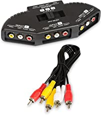 rts 3-Way Audio Video AV-RCA Switch Selector Box Splitter with AV Cable for Xbox XBOX360 DVD PS2 PS3