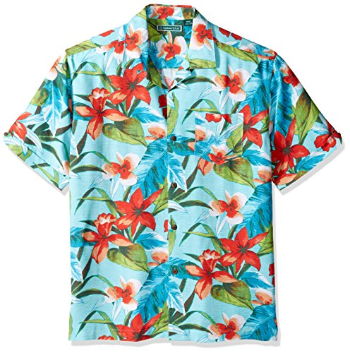 Cubavera Herren Short-Sleeve Tropical Print Pocket Camp Woven Shirt Button Down Hemd, Blau-Blue Radiance, XX-Large -