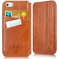 """KAVAJ iPhone Ledertasche Case Hülle """"Dallas (Modell 2015)"""" für das Apple iPhone SE, iPhone 5S und das iPhone 5 cognacbraun aus echtem Leder mit Visitenkartenfach. Dünne Klapphülle Tasche als edles Zubehör für das Original Apple iPhone SE/5S/5"""