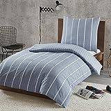 Bettwäsche 135x200cm Gestreift 100% Baumwolle Renforcé 2-teilig Bettbezug & Kissenbezug 80x80cm Geometrisch Karomuster Ideal für Schlafzimmer Mordern Stripe