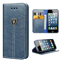 iPhone SE Case,Slim Magnetic Flip Leather Wallet Protective Case Cover for Apple iPhone SE - Blue