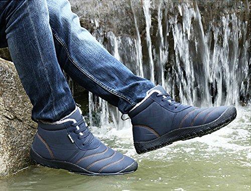 Rioneo Uomo Stivali de Neve Invernali Outdoor Impermeabile Caldo Scarpe Piatto Caviglia Stivaletti Botas Nero Blue Grigio 36-48 blu marina