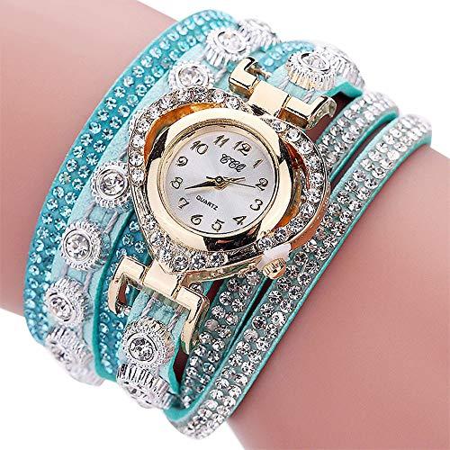 Bestow Mujeres Vintage Rhinestone Crystal Pulsera Dial Anal¨gico de Cuarzo Reloj de Terciopelo Amor incrustado de Diamantes Pulsera