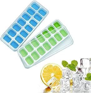 Eiswürfelbehälter aus Silikon mit Deckel , einfache Entnahme, 14-Fach mit abnehmbarem Verschüttungsdeckel, Eiswürfelform geeignet für Whiskey, Cocktail, Getränke, 2 Stück Eiswürfelformen (blau&grün)