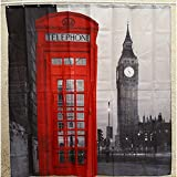 joybuy Duschvorhang London Big Ben Telefonzelle Print Wasserdicht Badezimmer Home Decor 180 cm × 180 cm