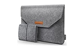 HOMIEE Laptop Sleeve with Extra Storage Case and Mouse Pad,for MacBook Pro Acer/Asus/Dell/Lenovo/HP/Chromebook Ultra Slim Notebook (15.4-15.6 inch, Light Gray)