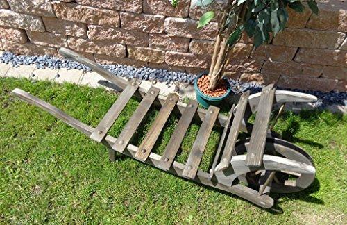 floristikvergleich.de BLACK Offene Holz-Schubkarre, Gartendeko Karre zum Bepflanzen, Blumentöpfe, Pflanzkübel, Pflanzkasten, Blumenkasten, Pflanzhilfe, Pflanzcontainer, Pflanztröge, Pflanzschale, Schubkarren 120 cm mit Holz – Deko HSOF-120-SCHWARZ Blumentopf, Holz, groß schwarz anthrazit dunkel grau lasiert Pflanzgefäß, Pflanztöpfe Pflanzkübel Aussen- und Innenbereich