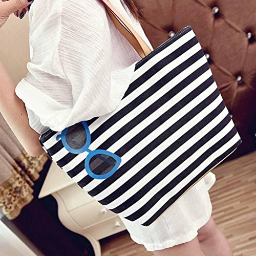Handbags Shoulder Bag, Fashion Stripe Cute Printing Women Canvas Bags Shoulder Bag Casual Handbag by Kangrunmy Blu
