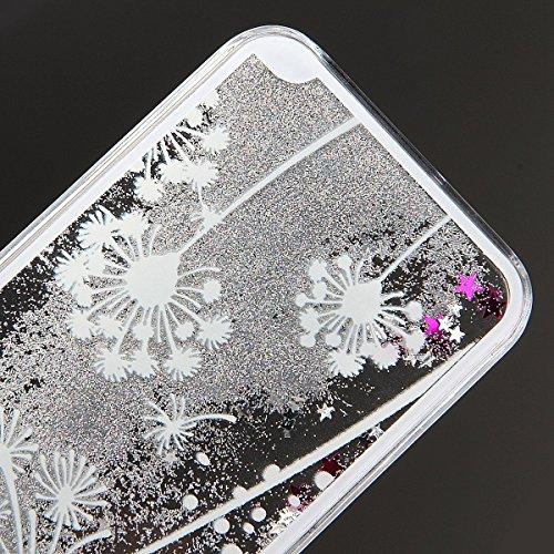 GrandEver Coque PC pour iPhone 5 iPhone 5S Glitter Liquide Etui iPhone SE 3D Briller Sable Étoiles Paillettes Housse Pissenlit Blanche Motif Slim Cas Plastique Rigide Relief Back Cover Peinture Style  Pissenlit