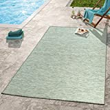 Moderner Outdoor Teppich Wetterfest Für Innen- und Außenbereich Meliert Taupe, Größe:80x250 cm