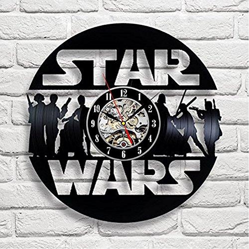Star Wars Art Vinyl Wall Clock Kinderzimmer Geschenk Modern Home  Registrierung Dekoration Vintage (Haushaltswaren)