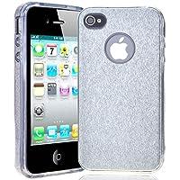 SMARTLEGEND Case Cover per Apple iPhone 4 iPhone 4s, Transparent Soft Morbido TPU Gel Silicone Custodia + Ultra Sottile Rigida PC Glitter Coprire,Gomma Anti-spina della polvere Guscio protettivo - Argento