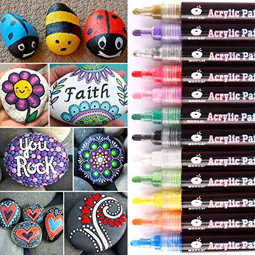 WONSAR Steine Bemalen Stifte Set, 12 Farben Wasserfeste Acrylstifte Marker, Acrylfarben Stifte für Steine Kinder DIY Keramik Glas Porzellan Metall Kunststoff Holz Leinwand mit Reversiblen Spitze