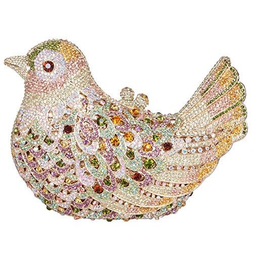 Bonjanvye Glitter Rhinestone Bird Clutch Purses Evening Clutch Bag for Girls Orange colorful purple