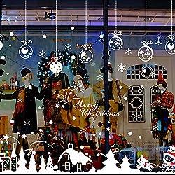 zarupeng Cabina de Navidad la decoración del hogar de vinilo ventana pegatinas de pared decorativos★extraíble★ (Multicolor #1)