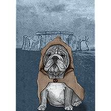 BullDog inglese con Stonehenge barruf Cane Inghilterra–Regno Unito (taglia a scelta di tela), 66x86.4 Unstretched Canvas