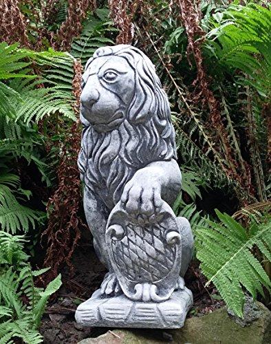 Löwe mit Wappen links aus Stein Guss sehr schwer ca. 15000 gr. / 15 Kg ein hinseher zu Weihnachten verschenken