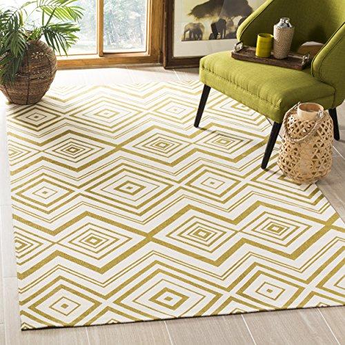 Safavieh Wohnzimmer Teppich, CDR142, Handgemacht Baumwolle, Elfenbein/Zitrone, 120 x 180 cm -
