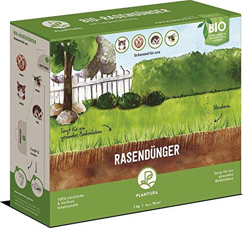 Plantura Bio Rasendünger mit Langzeitwirkung, ideal im Frühjahr und Sommer, Rasen Dünger gegen Moos, staubarmes Granulat, unbedenklich für Haustiere, tierfreundlich