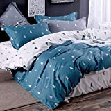 Parure de lit 2 Personnes 3 Pièces Housse de Couette 220x240cm avec 2 Taies d'oreiller 65x65cm Petits Arbres Bleu