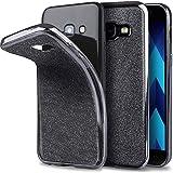 Moozy Samsung A3 2017 Hülle Silikon Glitzer case Grau Ultra Dünne weiche Transparent TPU Silikon Bling Handy Schutzhülle mit abnehmbarem Glitter