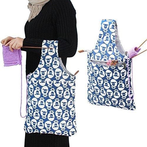 teamoy Stricken Tasche, Leinwand Garn Tote Projekt Tasche für Stricknadeln, Garn und Häkelarbeiten Supplies gestrickt, die perfekte Größe für auf das Go schaf - Patent Shopper Tote