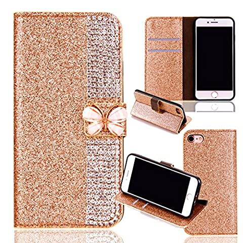 iPhone 6 Wallet Case,iPhone 6S Flip Case,Leather Case with Stand for iPhone 6/6S,Luxury Novelty Cool Cut Premium Scratch Resistant 3D Bling Sparkle Shiny Glitter PU Leather Creative Butterfly Design Claw Chain Diamond Rhinestone Pattern Folio Magnetic Closure Flip Wallet with Credit Card Holder Slots [Kickstand] Full Body Protection Book Style Bumper Case Cover Shell for iPhone 6/6S 4.7